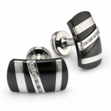 Edward Mirell Rapture Black Titanium, Silver and Diamonds Cufflinks