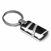 Edward Mirell Rapture Black Titanium, Silver and Diamonds Key Ring
