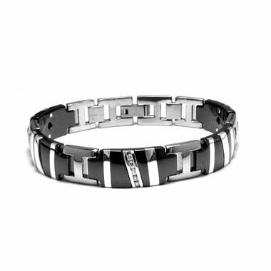 <b>Edward Mirell Rapture Collection:</b><br> Black Titanium Diamond Bracelet with Sterling Silver