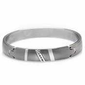 <b>Edward Mirell Rapture Collection:</b><br> Gray Titanium and Diamonds Bangle Bracelet