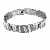 <b>Edward Mirell Rapture Collection:</b><br> Gray Titanium Diamond Bracelet with Sterling Silver