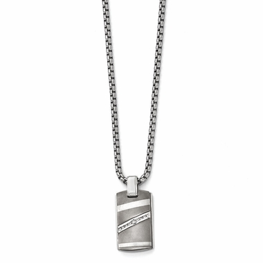 <b>Edward Mirell Rapture Collection :</b><br>Titanium Pendant Necklace with Sterling Silver, 0.17ctw Diamonds Bezel on a Steel Chain