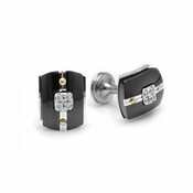Edward Mirell Royale Black Titanium and Diamonds Cufflinks