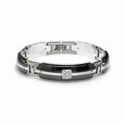 Edward Mirell Royale Black Titanium and Diamonds Link Bracelet