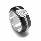 Edward Mirell Royale Black Titanium and Diamonds Ring