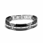 Edward Mirell Royale Black Titanium Diamond Bracelet with Sterling Silver