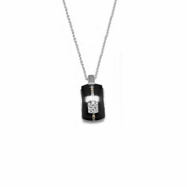 Edward Mirell Royale Black Titanium Diamond Necklace with Sterling Silver