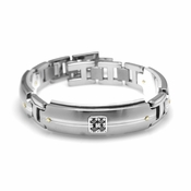 Edward Mirell Royale Gray Titanium and Black Diamonds Link Bracelet