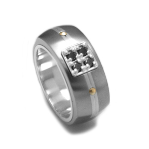 Edward Mirell Royale Gray Titanium and Black Diamonds Ring