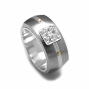 Edward Mirell Royale Gray Titanium and Diamonds Ring
