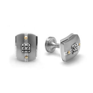 Edward Mirell Royale Titanium and Black Diamonds Cufflinks
