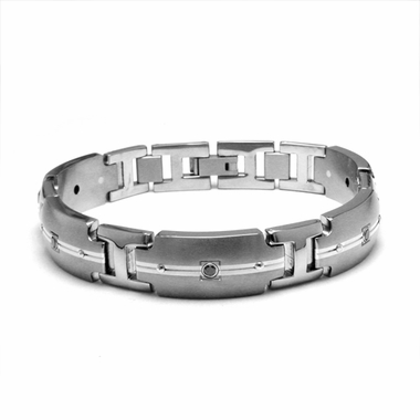 Edward Mirell Royale Titanium Black Diamond Bracelet with Sterling Silver
