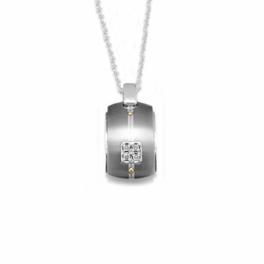 Edward Mirell Royale Titanium Diamond Necklace with Sterling Silver
