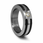 Edward Mirell Signature 7mm Titanium Diamond Ring with Black Cables