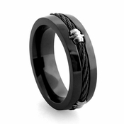 Edward Mirell Signature Cable Black Titanium Barrel Ring