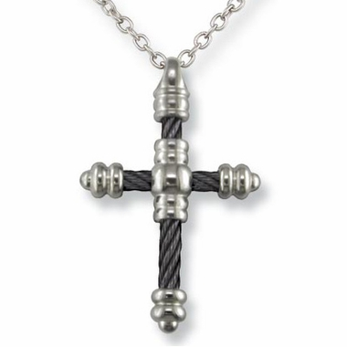 <b>Edward Mirell Signature Cable Collection:</b><br>4mm Black Titanium Cable Cross Pendant Rolo Necklace