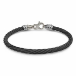 <b>Edward Mirell Signature Cable Collection:</b><br> 4mm Gray Titanium Black Cable Bracelet