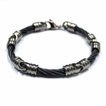 <b>Edward Mirell Signature Cable Collection:</b><br> 4mm Gray Titanium Black Cable Link Bracelet