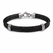 <b>Edward Mirell Signature Cable Collection:</b><br> Double Gray Titanium Black Cable Caps Bangle Bracelet