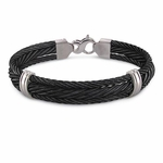<b>Edward Mirell Singnature Cable Collection:</b><br> Triple Gray Titanium Black Cable Bangle Bracelet