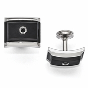 <b>Edward Mirell Slate Collection :</b><br> Black Titanium and Steel Black with Sterling Silver Bezel Spinel Cuff Link