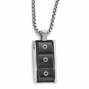 <b>Edward Mirell Slate Collection:</b><br> Black Titanium Pendant Necklace with Black Spinels and Sterling Silver Bezel