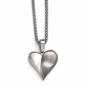 "<b>Edward Mirell South Beach Collection:</b><br> 16"" Titanium Heart Chain Necklace with Pink Sapphire, 2"" Sterling Silver Extension and Bezel"