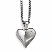 "<b>Edward Mirell South Beach Collection:</b><br> 16"" Titanium Heart Chain Necklace with White Sapphire, 2"" Stainless Steel Silver Extension and Bezel"