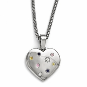 "<b>Edward Mirell South Beach Collection :</b><br> Multi Sapphire Heart Necklace with 2"" Extension and Silver Bezels"