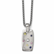"<b>Edward Mirell South Beach Collection :</b><br> Multi Sapphire Necklace with 2"" Extension and Silver Bezels"