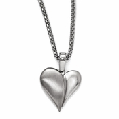 "<b>Edward Mirell South Beach Collection :</b><br> Titanium Heart Chain Necklace with 2"" Sterling Silver Extension and Stainless Steel"