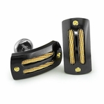 Edward Mirell Sport Black Titanium Cufflinks with 14K Yellow Gold Cables and Rivets