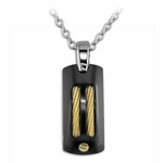 Edward Mirell Sport Black Titanium Pendant Necklace with 14K Yellow Gold Cables and Rivet