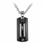 Edward Mirell Sport Black Titanium Pendant Necklace with Silver Cables and Black Diamond