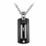 Edward Mirell Sport Black Titanium Pendant Necklace with Silver Cables and Rivet
