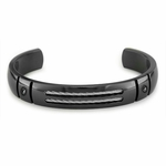 Edward Mirell Sport Black Titanium Silver Cable Cuff Bracelet with Black Diamonds