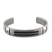 Edward Mirell Sport Gray Titanium Black Diamonds Cuff Bracelet
