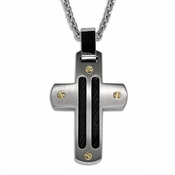 Edward Mirell Sport Gray Titanium Cross Pendant Necklace with Black Cables and Gold Rivet