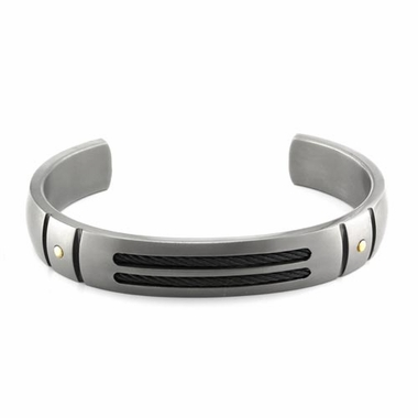 Edward Mirell Sport Gray Titanium Cuff Bracelet with Gold Rivets