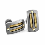 Edward Mirell Sport Gray Titanium Cufflinks with 14K Yellow Gold Cables and Rivets