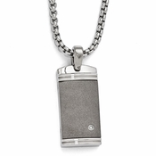 <b>Edward Mirell Stealth Collection :</b><br> Titanium .06ct Diamond with Sterling Silver Bezel Pendant Necklace on 6mm Box Link Chain