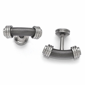 <b>Edward Mirell Stealth Collection :</b><br> Titanium and Brushed and Polished Steel Bar Cuff Links