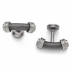 <b>Edward Mirell Stealth Collection:</b><br> Titanium and Brushed and Polished Steel Bar Cuff Links