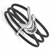 <b>Edward Mirell Tango Collection:</b><br> 3 Black Titanium Cables and Sterling Silver Spinel Flexible Cuff