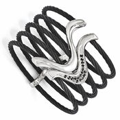 <b>Edward Mirell Tango Collection:</b><br>Black Titanium 5 Cables and Sterling Silver Black Spinel Flex Cuff Bangle