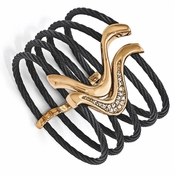 <b>Edward Mirell Tango Collection:</b><br> Black Titanium and Bronze 5 Cable and Bronze Flex Cuff Bracelet with White Sapphire