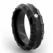Edward Mirell Templar 8mm Black Titanium Diamond Ring