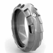 Edward Mirell Templar 8mm Gray Titanium Diamond Ring