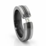 Edward Mirell Tension Set 0.16ctw Diamond 6mm Black Titanium Ring with Grooves