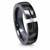 Edward Mirell Tension Set  Diamond 6mm Black Titanium Ring 0.16ctw